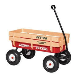 Radio Flyer All Terrain Wagon - 22W - Your kids will sit safely inside this classic wagon while you pull them all over the place easily and smoothly. The Radio Flyer All-Terrain Wagon is the original red wagon equipped with high wooden stake sides and big brawny air tires that can handle rough terrain. Dimensions: 35.25 x 16.25W x 19.5H inches. The air tires provide a super soft quiet ride and the no-pinch ball joint keeps fingers safe. An extra-long handle makes it easy for parents to pull the wagon and the handle folds under for easy storage. A controlled turning radius prevents tipping. This wagon is recommended for children over 1 1/2 years old. About Radio FlyerLike the Original Red Wagon that lent the company its name Radio Flyer has become an American classic. From humble beginnings Radio Flyer has been rediscovered with each new generation - creating a legacy of toys that continue to spark the imagination. For over 90 years millions of children have played with Radio Flyer wagons launching countless voyages of imagination. Their beauty simplicity and standards of safety encourage adventure discovery and the wonders of childhood. As the new millennium gains momentum Radio Flyer is still in the driver's seat - creating tomorrow's innovative products with the same classic quality and sheer sense of play that have been their trademarks from the beginning. Radio Flyer wagons are truly icons of Americana.