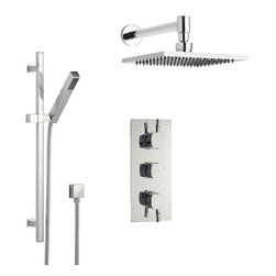 """Hudson Reed - New Arco Shower System Chrome With 8"""" Square Ceiling Head Rail Kit & Handspray - The Hudson Reed Chrome Arco Thermostatic Two-Way (Triple) Shower Valve is constructed from brass and features ceramic disc technology. This elegant chrome finish shower valve supplies water at a pre-set temperature to either the fixed shower head or hand shower."""