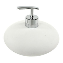 Gedy - Soap Dispenser Made From Brass and Stone in White Finish - Keep your personal bathroom looking modern & contemporary with this high-end free stand liquid hand soap dispenser from the Gedy Fiona collection.
