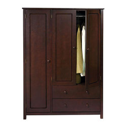 None - Wenge Finish 3-door Wardrobe - This wenge finish wardrobe features multiple compartments including two drawers and two hanging rods to address all your storage needs. This handsome piece can be used for additional bedroom, entry, or home office storage.