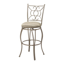 Asia Direct Home - Metal Swivel Bar Stool in Satin Nickel Finish - Set of 2 - Set of 2 Included. Armless metal swivel bar stool with intricate designs. Metal foot ring for comfort. Seat cushion fabric in light green stripe pattern. 29 in. seat height. Dimensions: 17.5 in. W x 44.5 in. H