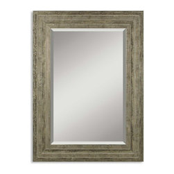 """Uttermost - Uttermost Hallmar Mirror - Uttermost Hallmar Mirror is a Part of Mirrors Collection by Uttermost This solid wood frame features a lightly distressed silver leaf finish with black undertones and light gray glaze. Mirror has a generous 1 1/4"""" bevel. Wall Mirror (1)"""
