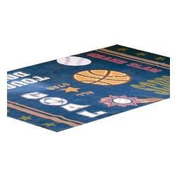 Domestications - All Sports Basketball Soccer Large Area Rug Floor Accent - Features:
