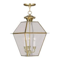 Livex Lighting - Livex Lighting 2385-02 Westover Outdoor Pendant Polished Brass - -Finish: Polished Brass