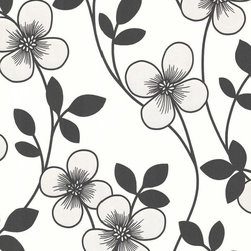 Brewster Home Fashions - Freud Black Blossom Trail Wallpaper Bolt - Bring modern luxury to walls with this blossom trail wallpaper in a fashionable black and white palette. With dazzling petals enriched in pearlescent effects as well as lush suede treatments, this gorgeous design is anything but spectacular.