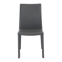 Euro Style - Hasina Side Chair (Set Of 2) - Gray - Every surface is leather. In black, gray or white, the legs, back and seat provide the special feel and lasting elegance of leather. The profile of this chair is particularly lovely the way the back curves back gently for added comfort.