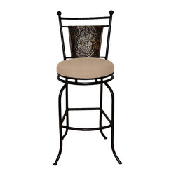 "Surf Side Patio - Fiji Swivel Bar stool, Mocha, 30"" Bar Height - Accent your breakfast bar, home bar, tiki bar or patio with the hand crafted, wrought iron Fiji Swivel Bar stool.  Made from thick guage, powder coated wrought iron, these gorgeous bar stools swivel 360 degrees and bring a tropical touch to any area of your home, indoor or outdoor."