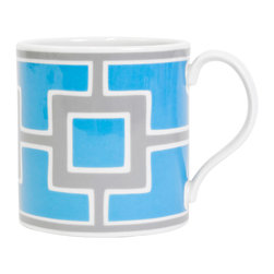 """Jonathan Adler - Jonathan Adler Carnaby Nixon Blue & Grey Mug - Final Sale - The Jonathan Adler Carnaby Nixon coffee mug awakens table settings with mod style. Bold against white porcelain, contemporary blue and gray squares exude geometric flair. 4.5""""W x 3.5""""H; High-fired porcelain; Top rack dishwasher safe; Microwave safe"""