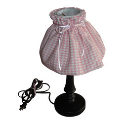 "WingBack - Pink Houndstooth Lampshade - Handcrafted 9"" pink and white houndstooth lampshade constructed using a Premier Prints cotton duck fabric.  The lampshade will fit on to a decorative style light bulb. This is a part of the Elephants on Parade Collection."