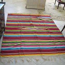 Vintage '40s Mexican Serape Saltillo Rug by Not Sew Idle - This bright rug would inject some life into a neutral room.