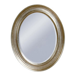 Bassett Mirror - Oval Wall Mirror w Beveled Edge in Silver Lea - Decorative mirror. Black marked hues are present on frame. 33 in. L x 41 in. H (30 lbs.)