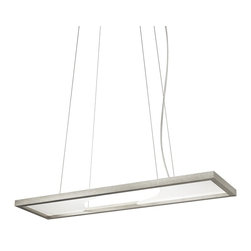LBL Lighting - Vitre Rectangle Suspension Light - Two wave-cut acrylic panels separated by open air define this intriguing suspension fixture. Using LED light-guide technology, the light source is embedded within the brushed metal frame then redirected downward using a special honeycomb grid pattern etched into the panels to create diffuse ambient light.