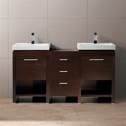 "Vigo Industries - Vigo 59"" Adonia Double Bathroom Vanity - Wenge - Vigo Adonia vanity set with double sinks and shelving unit made for two is a luxury for any shared bathroom. The vanity features two porcelain sinks, as well as two sets deep cabinets with swinging door and shelving. For additional storage space, three drawers and a small countertop adjoin the set of sinks. This durable Vigo vanity was constructed with you in mind. No other brand can match Vigo's style, quality and design. The cabinet is made from solid engineered wood in a wenge horizontal grain finish which consists of an anti-scratch paint surface for enhanced durability and frequent use. The Adonia double vanity includes soft close hardware and the sinks are pre-drilled for single-hole faucets. Features Includes white porcelain sinks (set of 2) Includes solid brass, chrome-plated drain assembly Includes deep cabinets with swinging door made with soft closing hardware Includes 3 draw storage with a counter in between 2 sinks All mounting hardware included 5 Year Limited Warranty Pre-drilled for single hole faucets Faucets NOT included No assembly required How to handle your counter View Spec Sheet"