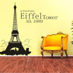 ColorfulHall Co., LTD - Modern Paris Eiffel Tower Wall Sticker Construction Wall Decals - You will find hundreds of affordable peel - and - stick wall decal designs, suitable for all kinds of tastes and every room in your house, including a children's movie theme, characters, sports, romantic, and home decor designs from country to urban chic. Different from traditional decals, vinyl wall decals is with low adhesive that allows you to reposition as often as you like without damaging the paint. Application is easy: peel offer the pre-cut elements on the design with a transfer film, and then apply it to your wall. Brighten your walls and add flair to your room is just as easy.
