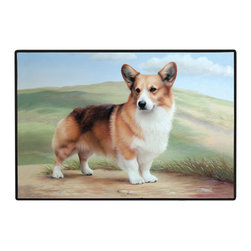 180-Corgi-Path Doormat - 100% Polyester face, permanently dye printed & fade resistant, nonskid rubber backing, durable polypropylene web trim on the porch or near your back entrance to the house with indoor and outdoor compatible rugs that stand up to heavy use and weather effects