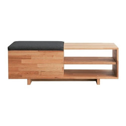 Mash Studios - Mash Studios | LAXseries Storage Bench - Style and function are seamlessly merged with the LAXseries Storage Bench from MASHstudios. The Storage Bench provides ample storage and allows for efficient use of space in modern living rooms, offices, or entryways. Contributing to its sleek appeal are the solid English walnut construction and charcoal gray sliding felt seat. The white double stitch seals the edge of the sliding felt seat which reveals the storage box below. The bench is finished with natural oil, reflecting MASHstudio's commitment to sustainability and producing furniture built to last a lifetime.