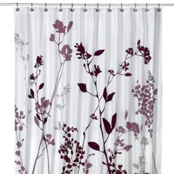 Homestead International Group Ltd. - Reflections 72-Inch x 72-Inch Fabric Shower Curtain in Purple - This shower curtain's foliage silhouette in deep shades of purple will add a contemporary touch to your bathroom.