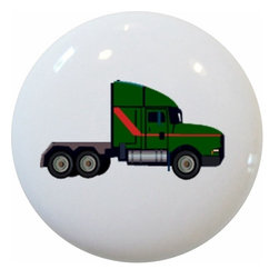Carolina Hardware and Decor, LLC - Green Big Rig Truck Ceramic Knob - New 1 1/2 inch ceramic cabinet, drawer, or furniture knob with mounting hardware included. Also works great in a bathroom or on bi-fold closet doors (may require longer screws).  Item can be wiped clean with a soft damp cloth.  Great addition and nice finishing touch to any room!