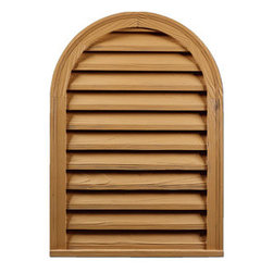 "Inviting Home - Round Top Rough Sawn Functional Louvers - rough sawn functional round top louvers 21-7/8""W x 30-3/4""H x 2-1/8""D Rough sawn louvers specifications: rough sawn louvers designed for exterior application. Outstanding durability rough sawn louvers are made of high density polyurethane. These louvers are lightweight durable and easy to install using common woodworking tools and can be finished with any quality paints."