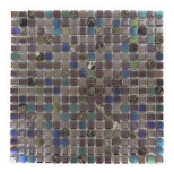 """Whimsical Sandpebble Glass Tile - Whimsical Sandpebble Glass Tile Add a pop to any room with these beautiful tiles that are versatile; great to use for back splash for a kitchen or a fireplace. This tile is great to use for the bathroom, or kitchen installation. Chip Size: 5/8"""" x 5/8"""" Color: Shades of Brown Glass and Dark Emperador Finish: Polished and Stained Sold by the Sheet - each sheet measures 11 3/4"""" x 11 3/4"""" (0.96 sq. ft.) Thickness: 3mm"""
