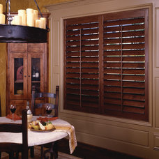 Traditional Window Treatments Dark Wood Shutters