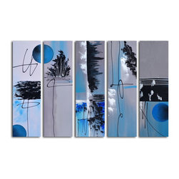 "Omax Decor - Blue Moon Hand painted 5 piece canvas set - Overall size: 40"" x 60"" (40"" x 12"" x 5pc). Enjoy a 100% Hand Painted Wall Art made with oil paints on canvas stretched over a 1"" thick wooden frame. The painting is professionally hand-stretched and ready to hang out of the box. With each purchase of our art you receive a one of a kind piece due to the handcrafted nature of the product."
