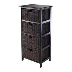 Winsome Wood - Storage Rack with 4 Foldable Baskets - Simple with plenty of storage. Made from composite wood and corn husk. Black finish. Assembly required. Baskets opening: 13.98 in. W x 10.63 in. D x 7.48 in. H. Folded: 23.03 in. W x 9.84 in. D x 1.97 in. H. Overall: 16.73 in. W x 12.4 in. D x 36.81 in. H