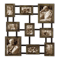 Uttermost - Lucho, Hanging Photo Collage - Create a collage of your favorite photos with this hanging photo collage made of hand forged metal finished in dark burnished wash with silver undertones and aged black details. Holds 2-8x10, 3-4x6, 4-6x4
