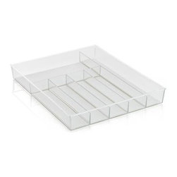 Madesmart® Clear Drawer Organizer - Flatware, cutlery and gadgets get compartmentalized for convenience in this divided storage tray with six sections: four for flatware, with one longer section for utensils and another section for gadgets. Overall size is designed to fit most kitchen drawers, with nonslip lining and rubber feet to stabilize the base.