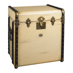 "Inviting Home - Trunk End Table, ivory - reproduction of Victorian luggage end table; 17-3/4"" x 21"" x 22""H; Victorian luggage was made to be shipped by horse drawn coach and train travel. It was sent ahead and handled by porters only. The tall square shape of this ""end table"" trunk was made to fit more easily into tight steamer and long distance train cabins. Plus it easily swallowed a tall black stovepipe hat... The classic maple hoops strengthened by brass corners and other hardware were designed to protect against damages. Enjoy the flavor of a bygone luxury age and combine it's fin-de-siecle appeal with practical storage!"