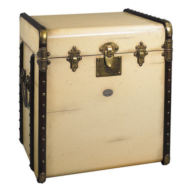 """Inviting Home - Trunk End Table, ivory - reproduction of Victorian luggage end table; 17-3/4"""" x 21"""" x 22""""H; Victorian luggage was made to be shipped by horse drawn coach and train travel. It was sent ahead and handled by porters only. The tall square shape of this """"end table"""" trunk was made to fit more easily into tight steamer and long distance train cabins. Plus it easily swallowed a tall black stovepipe hat... The classic maple hoops strengthened by brass corners and other hardware were designed to protect against damages. Enjoy the flavor of a bygone luxury age and combine it's fin-de-siecle appeal with practical storage!"""