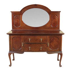 Antiques - Antique Mahogany Queen Anne Sideboard Buffet Server - Mahogany finish