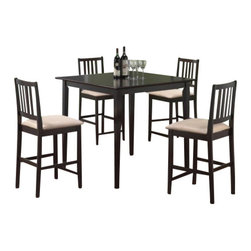 "Coaster - 5 Pc Set (Dark Cappuccino) By Coaster - You will receive a total of 1 counter height dining table and 4 counter. height stools. Table: 40""W x 40""D x 36""H.Stools: 24""H.Finish: Cappuccino, Beige. Material: Hardwood, Veneer, Microfiber. 5pc Counter Height Dining Table Stools Set Cappuccino Finish. Stool features beige microfiber upholstery on the seats. This dining set creates a scenery that will make dining a pleasure for. everyone. Embellish your dining room with the classic beauty of this set. Also available in natural and tobacco. Assembly required."