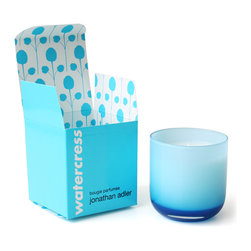 Jonathan Adler Candle POP Watercress - Jonathan Adler POP: Watercress Crisp and clean. Garden scents in a bold Pop Glass vessel with packaging as fresh as the product. Watercress is a blend of cucumber, lime, watercress, garden mint, and cypress wood.