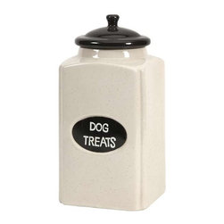 Dog Large Ceramic Canister with Metal Plaque - This cream finished ceramic canister is a great place to store dog treats for your canine friends!