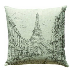 Paris Scene and the Eiffel Tower Hand Printed on Linen Pillow - Pretty rendition of Paris and the Eiffel Tower hand printed on neutral colored linen.