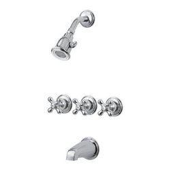 Pfister - Pfister 001-8CBC Polished Chrome 01 Series 01 Series Triple Handle Tub - 01 Series Triple Handle Tub and Shower Trim PackageTrim package for tub and shower applications (Valve sold separately)Includes single function shower headIncludes shower arm and shower arm wall flangeIncludes 3 metal cross handlesIncludes non-diverter tub spout (3rd handle is diverter)All brass construction - Weight: 4.57 LBSShower head flow rate: 2 gallons-per-minuteDesigned for use with standard US plumbing connectionsAll necessary mounting hardware included (Does not include valve)Fully covered under Pfister s Pforever Lifetime WarrantyAbout PfisterFounded in 1910, Pfister (previously known as Price Pfister) is one of America's oldest and most experienced plumbing companies. As the first faucet manufacturer in the world to offer a lifetime warranty on their products, quality has always been the cornerstone of Pfister faucets. Brass bodies, ceramic disc valves, and lifetime PVD finishes name a few of the features you'll find in their product line. You will also find innovative designs. In the last 100 years, Pfister pioneered many of the faucet varieties that have helped to define the industry today. This kind of market presence has made Pfister one of the most trusted names in plumbing. Buy Pfister – you won't be disappointed.