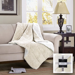 Premier Comfort - Premier Comfort Jackson Down Alternative Throw - If you're looking for a cozy throw to cuddle up in on the couch, the corduroy reverse to berber down alternative throw will be perfect for you. Its thick material is made out of a solid colored corduroy on one side and a super soft ivory berber on the other. Whether its for a summer snooze or a cold winter's nap, this blanket will make you comfy throughout the seasons. Availible in brown, ivory, blue, grey, and red. down alt throw: Face: 88% polyester, 12% nylon (corduroy); Reverse: 100% polyester (berber); knife edge, 6D fiber fill, box quilt.
