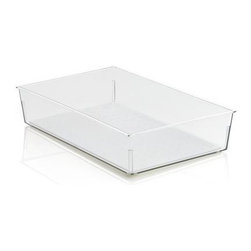 Madesmart® Clear 9x6 Drawer Bin - Generous in-drawer bin stores a variety of household and utility items with a nonslip surface and rubber feet to stabilize the base. Additional sizes are available for customized organization.