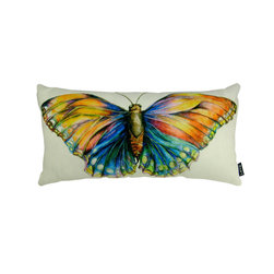 Lava - Watercolor Butterfly 12 x 23 Pillow (Indoor/Outdoor) - 100% polyester cover and fill. Made in USA. Spot clean only. Safe for use indoors or out.
