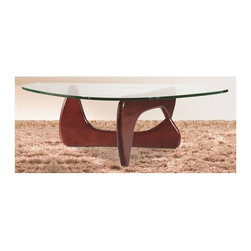 Fine Mod Imports - Tribeca Coffee Table in Cherry Finish - Contemporary style. Glass top. Two interlocking wooden base pieces. 0.59 in. tempered glass thickness. Warranty: One year. Assembly required. 50 in. W x 36 in. D x 16 in. H (90 lbs.)This classic design was first produced in 1944.