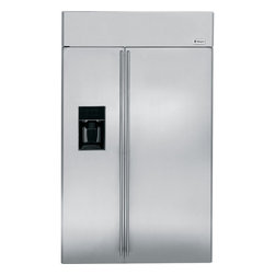 """GE Monogram - GE Monogram® 48"""" Built-In Side-by-Side Refrigerator with Dispenser - Monogram built-in side-by-side refrigerators are among the largest-capacity built-in refrigerators available. Like commercial refrigerators, Monogram built-in side-by-side refrigerators use an overhead evaporator system. This allows independent cooling of the freezer and fresh food compartments—giving you greater temperature control, while eliminating the transfer of moist air and food odors."""