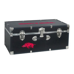 Seward Trunk - University of Arkansas Storage Trunk - Officially licensed. Front center key lock. One handle on the front. Paper lined to help protect interior contents. Screen printed logo. Heavy gauge vinyl. Nickel hardware and trim. Made from wood. Black finish. Made in USA. 30 in. L x 15.75 in. W x 12.25 in. H (18 lbs.)Storage you can show off!!!