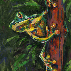 Tree Hugger - Fun Frogs - Originl / Print / Giclee wall Art - Lovejoy Creations - Artwork -  is available in multiple sizes, finishes, and styles.  Please visit my store to acquire your version.