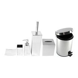 Gedy - Chrome Free Standing Bathroom Accessory Set - Complete bathroom accessory set. Bathroom set includes six pieces; one soap dish, one soap dispenser, one toothbrush tumbler, one tissue box cover, one toilet brush holder and one waste can. Made of stainless steel with polished chrome finish. 6 piece bathroom accessory set. Made of stainless steel. Finished in polished chrome. Included in set. (1) Soap dish Gedy NE11-13. (1) Soap dispenser Gedy NE81-13. (1) Toilet brush holder Gedy NE33-13. (1) Toothbrush holder Gedy NE98-13. (1) Tissue box cover Gedy 2302. (1) Waste can Gedy 2709-13.