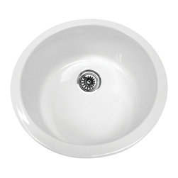 Whitehaus Collection - Whitehaus WHE1818R Elementhaus Undermount Circular Single Bowl Fireclay Sin - Elementhaus Series Circular Fireclay Sink in White by Whitehaus Collection. This fireclay Sink is made of 100% organic material. The timeless design can be installed as an under-mount or a drop-in application. This sink will be the center piece of your kitchen for years to come.