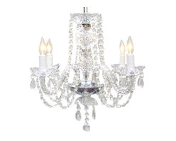 "The Gallery - New! Authentic All Crystal Chandelier Chandeliers H17"" x W17"" - A Great European Tradition. Nothing is quite as elegant as the fine crystal chandeliers that gave sparkle to brilliant evenings at palaces and manor houses across Europe. This unique version from the Royal Collection features crystal tube arms is decorated with 100% crystal that capture and reflect the light of the candle bulbs, each resting in a scalloped bobache. The timeless elegance of this chandelier is sure to lend a special atmosphere anywhere it is placed! Please note this item requires assembly. This item comes with 18 inches of chain."
