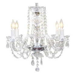 "The Gallery - New! Authentic All Crystal Chandelier Chandeliers H17"" x W17"" - A Great European Tradition. Nothing is quite as elegant as the fine crystal chandeliers that gave sparkle to brilliant evenings at palaces and manor houses across Europe. This unique version from the Royal Collection features crystal tube arms is decorated with 100% crystal that capture and reflect the light of the candle bulbs, each resting in a scalloped bobache.The timeless elegance of this chandelier is sure to lend a special atmosphere anywhere it is placed! Please note this item requires assembly. This item comes with 18 inches of chain. SIZE:H.17"" X W.17"" LIGHTS: 4. Lightbulbs not included."