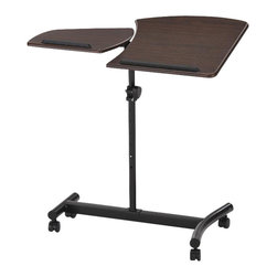 ORE International - 1.4 ft. Casual Laptop Adjustable Desk - This contemporary and stylish laptop desk is designed with adjustable height (36-43 inches) and table surface angle great for placing from music sheets to books to laptops to electronic tablets. With two separate table sides, this desk can be used for multiple purposes making it convenience to use in the office or at home. 4 wheels made easily for mobility with secured and tight safety locks to keep the desk in place when needed. Durable and sturdy black matte finish for the base and the classic composite dark brown wood tables compliment perfectly together. 29 in. L x 15 in. W x 36 in. H (12 lbs.)
