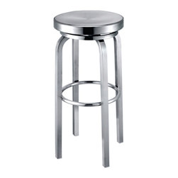 Fine Mod Imports Navy Counter Chair, Aluminum - Navy Stool is made of brushed aluminum, for indoor use only. Chair swivels form maximum comfort.